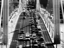Elisabeth bridge in Budapest in diminishing perspective in monochrome. With heavy car traffic and shadows. popular landmark and tourist attraction in Budapest stock images