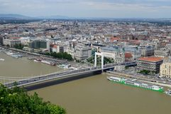Elisabeth Bridge and Budapest. View from the top of Gellért hill, you can see the Pest side of Budapest, and the Danube with the Elisabeth Bridge Stock Photo