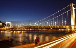 Elisabeth Bridge and Dunabe river at evening. Budapest Stock Photos
