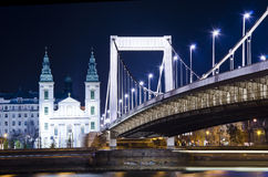 Elisabeth Bridge at night. Elisabeth Bridge in Budapest at night Stock Images