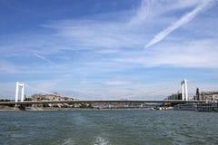 Elisabeth bridge over Danube river Royalty Free Stock Images
