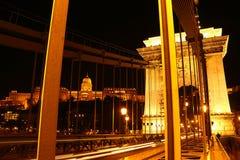 Elisabeth Bridge på natten i Budapest Royaltyfri Foto