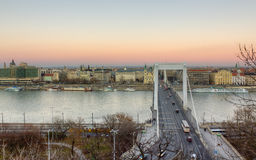 Elisabeth bridge and Pest, Budapest, Hungary Stock Images