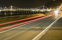 Elisabeth Bridge vid natt Royaltyfri Fotografi
