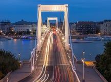 Elisabeth Bridge. View of Elisabeth Bridge at dusk,reaching across the River Danube, Budapest, Hungary, Europe Stock Photo