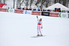 Elisabeth Goergl sulla tazza di mondo alpina del pattino di FIS Fotografia Stock