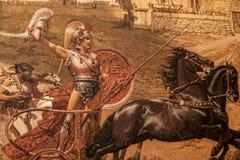 Fresco The Triumph of Achilles by Franz von Matsch, in Achilleion palace of Empress of Austria Elisabeth of Bavaria, in Gastouri, Royalty Free Stock Photo