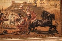 Fresco The Triumph of Achilles by Franz von Matsch, in Achilleion palace of Empress of Austria Elisabeth of Bavaria, in Gastouri, Stock Photo