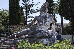 Dying Achilles on the Terrace at the Achilleion Palace on the island of Corfu Greece built by Empress Elizabeth of Austria Sissi Stock Photo