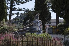 Dying Achilles on the Terrace at the Achilleion Palace on the island of Corfu Greece built by Empress Elizabeth of Austria Sissi Royalty Free Stock Photo
