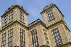 Elisabethan Manor. Hardwick Hall, the family seat of the Earls of Shrewsbury, os famous of which Bess of Harwick who styled herself on the then Queeen Stock Photography