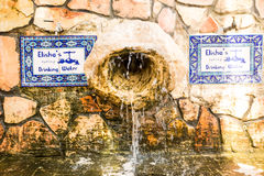 Elisha spring fountain at the entrance of Tell es-Sultan the old. Est city in the world Jericho. Elisha's spring drinking water Stock Image