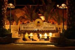 Elishas vårar i Jericho (Västbanken) på natten Arkivbild