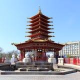 Elista Fontanny Trzy lotos Pagoda siedem dni Zdjęcia Royalty Free