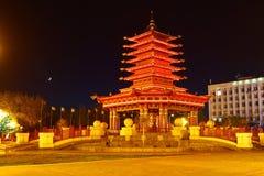 Elista, Kalmykia, Russia - April 28, 2017. Pagoda of Seven Days at night. Editorial. stock image
