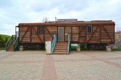 ELISTA, RUSSIA. Car museum of Stalin deportation of Kalmyks. The Russian text - the Museum of deportation stock image