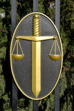ELISTA, RUSSIA. Justice symbols - a sword and scales on a protection Stock Photo