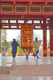 ELISTA, RUSSIA. People spin a prayer wheel with a mantra of Ohms of Manya Padme Hum. Pagoda of Seven Days. ELISTA, RUSSIA - APRIL 19, 2017: People spin a prayer royalty free stock photos