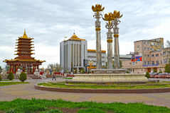ELISTA, RUSSIA. The Sacred Lotus fountain and a pagoda of Seven Days at Lenin Square Stock Photos