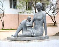 ELISTA, RUSSIA. Street sculpture `Motherhood`. Kalmykia Royalty Free Stock Photo