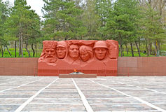 ELISTA, RUSSIA. View of the Eternal flame and sculptural composition of the Memorial complex of heroes Civil and Great Patriotic W Stock Images