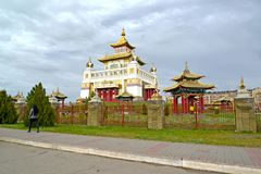 ELISTA, RUSSIA. View of the temple and arbor of the Buddhist temple complex `Gold Monastery of Buddha Shakyamuni`. Kalmykia. ELISTA, RUSSIA - APRIL 19, 2017 royalty free stock photos