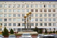 ELISTA RYSSLAND Den sakrala Lotus springbrunnen mot bakgrunden av byggnaden av den nationella Hural parlamentet av Republien Arkivbilder