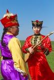 Elista Tulip Festival Conjunto del folclore de los artistas Fotografía de archivo libre de regalías