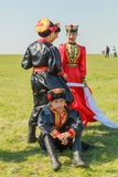 Elista Tulip Festival Insieme di folclore degli artisti Fotografia Stock