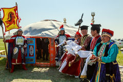 Elista. Tulip Festival. Meeting guests at the steppe tent. stock photos