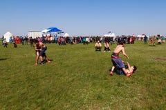 Elista Tulipanowy festiwal Krajowe walki Kalmyk chłopiec Zdjęcie Royalty Free