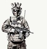 Elita zmusza żołnierza w amunicyjnym pracownianym krótkopędzie fotografia royalty free