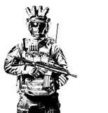 Elita zmusza żołnierza w amunicyjnym pracownianym krótkopędzie zdjęcia royalty free