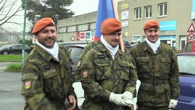 OLOMOUC, CZECH REPUBLIC, NOVEMBER 17, 2017: The elite army troop of the Czech Republic is armed soldiers with a flag are. The elite army troop of the Czech stock footage