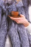 Elite coffee concept. Female hand fur coat hold brown cup or mug. Drink coffee little ceramic cup close up. Enjoy stock images