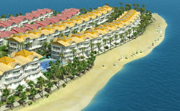 Elite cottage village on the seaside . 3D render Royalty Free Stock Images