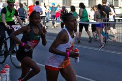 Riga, Latvia - May 19 2019: Elite female runners continuing the marathon stock images