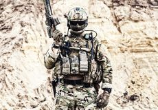 Elite fighter of special forces ready for battle stock photo