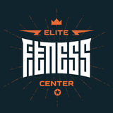 Elite Fitness Center -  emblem or logo with original lettering. Royalty Free Stock Photos