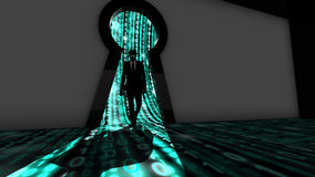 Elite hacker entering a room in turquoise Royalty Free Stock Photography