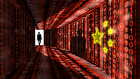 Elite hacker enters information corridor with digital red chines Royalty Free Stock Photo