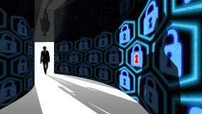 Elite hacker enters information security hallway with locks Royalty Free Stock Photography
