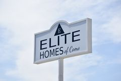 Elite Homes of Como Sign. Welcome to Elite Homes of Como, MS Welcome to the newest and most complete Home Center in North Mississippi. We offer top of the line stock image