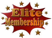 Elite Membership (explosion). A 3D metallic explosion in red with a golden stars and text Elite Membership stock illustration