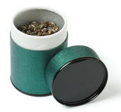 Elite oolong tea spilled in the green can Royalty Free Stock Photography