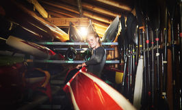 Elite rower getting ready royalty free stock photos
