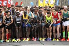 Elite runners waiting for start Stock Photo