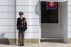 Elite Slovak soldier in the front of Grassalkovich Palace stock photography