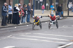 Elite wheelchair athletes at London marathon 2010 Royalty Free Stock Images