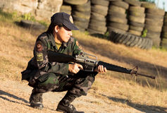 Elite woman sniper Royalty Free Stock Photography